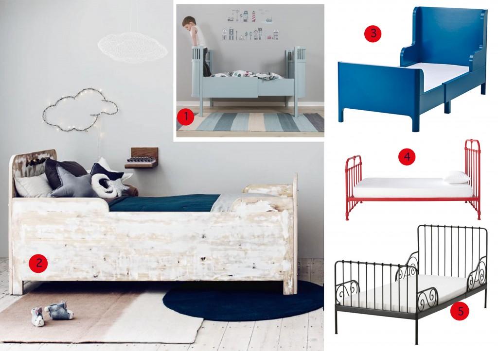 nr. 1: sebra-kili bed (voor baby tot tiener) | nr. 2: gevonden op mollymeg.com, Saartje Prum heeft soortgelijke bedden | nr. 3: IKEA Busunge meegroeibed | nr. 4: kinderbed nicolas (maisonsdumonde) | nr. 5: IKEA meegroeibed Minnen