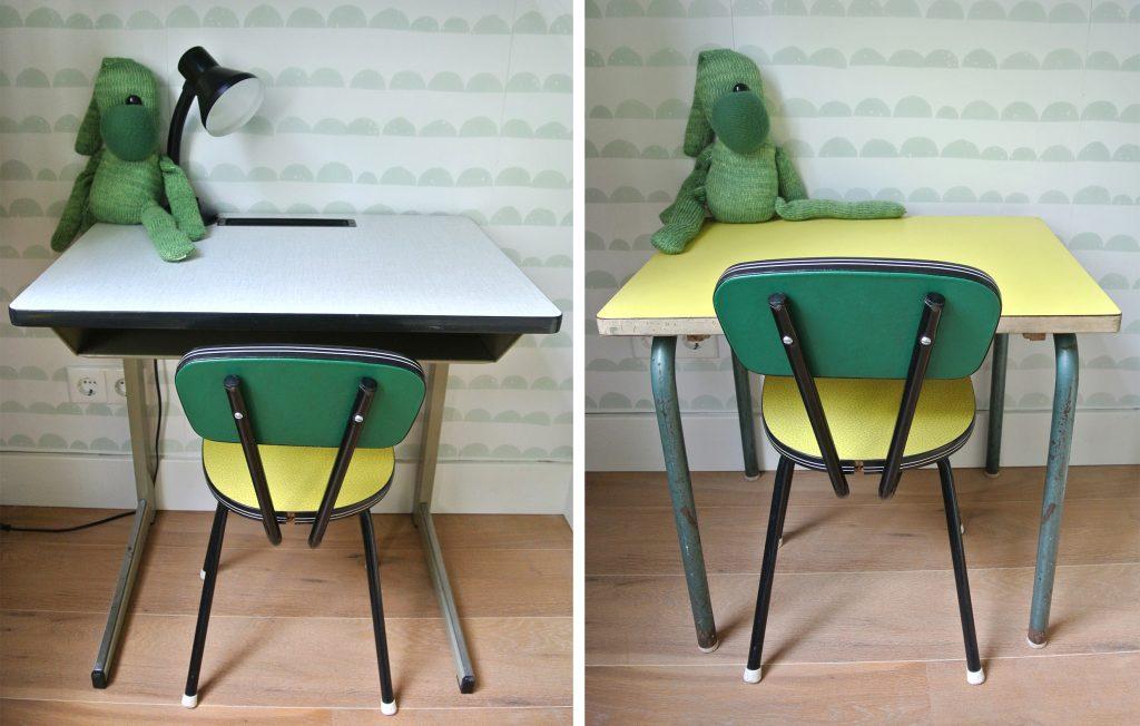 Stoeltje met bureautje: 49 euro | Stoeltje met geel tafeltje: 45 euro