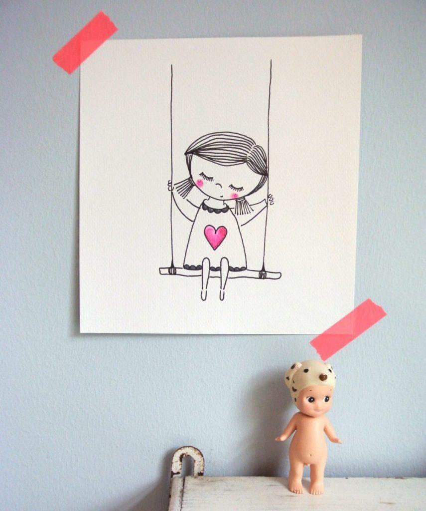 kinderkamer aan de muur | illustratie van mijzelf | te koop