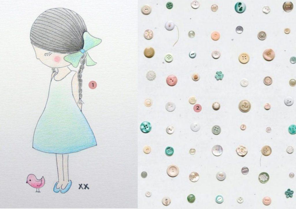 nr. 1: meisje handmade by mij: A5: 15 euro | interesse? haskesommers@gmail.com | nr. 2: studio Ditte behang