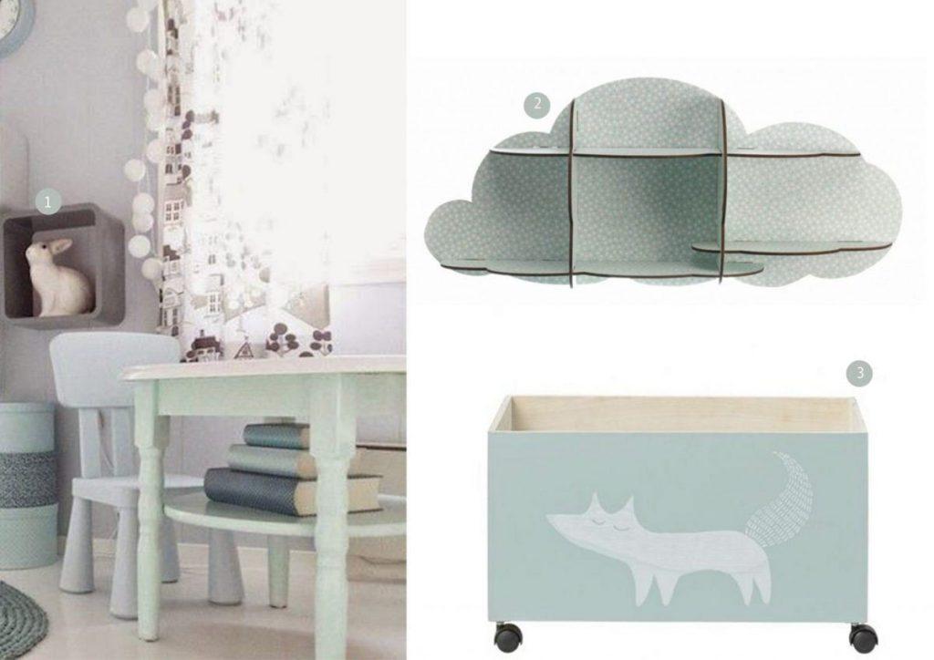 nr. 1: Gevonden op mommo-design.blogspot | nr. 2: Djeco cloud shelve | nr. 3: bloomingville opbergbak