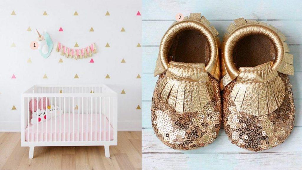 nr. 1: Gevonden op ministyleblog | nr. 2: Gold Sequins Baby Moccasins etsy