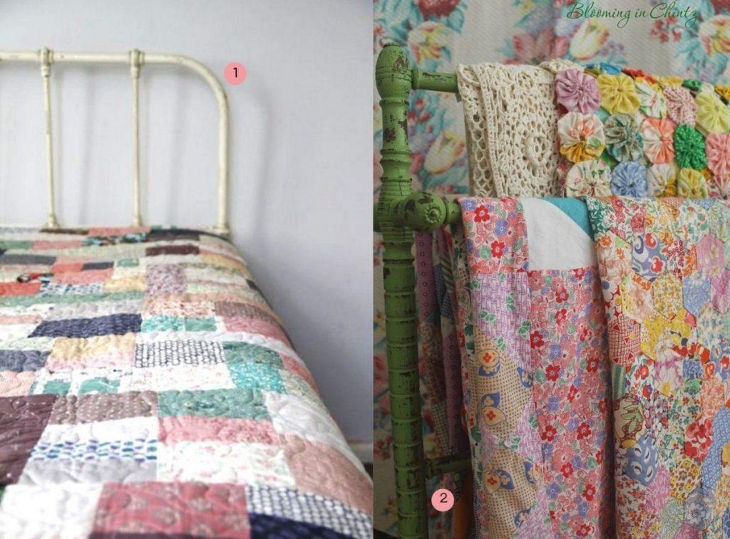 nr. 1: Gevonden op maggieandsparrow.blogspot | nr.2: Vintage Quilt Tops - Blooming in Chintz