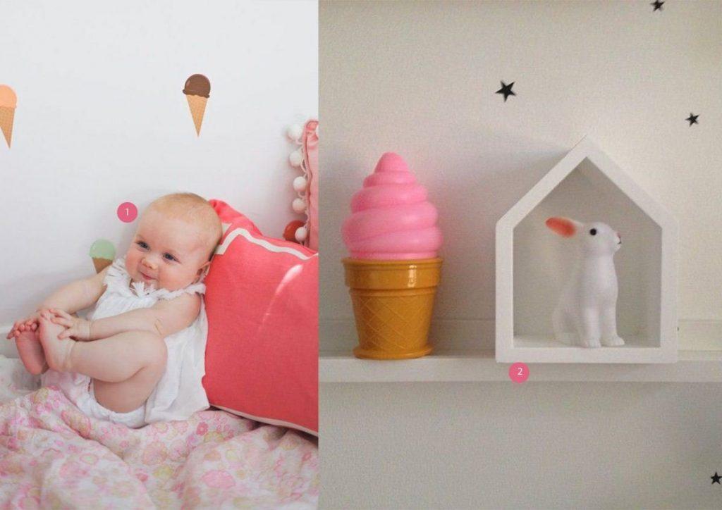 nr. 1: Vinyl Wall Sticker Decal Art - Ice Cream Cones etsy | nr. 2: Leo & Bella - Ice Cream Night Light Lamp