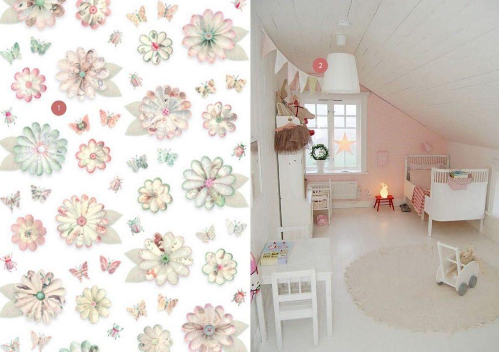 nr. 1: bloem behang: Studio Ditte | nr. 2: Gevonden op decorativebedroom