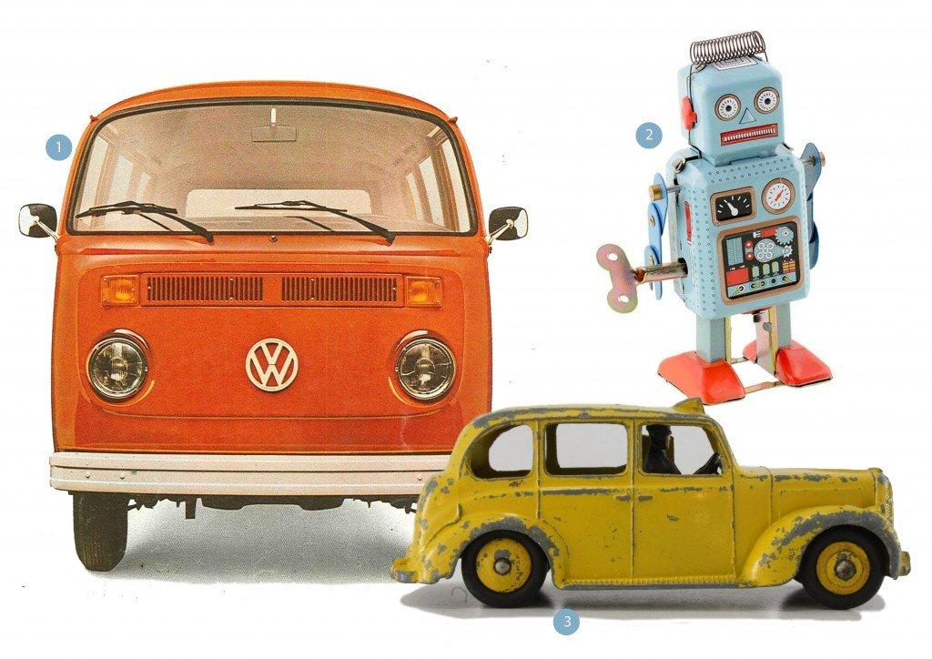 oude volkswagen busje | dinky toy autootje | vintage robot