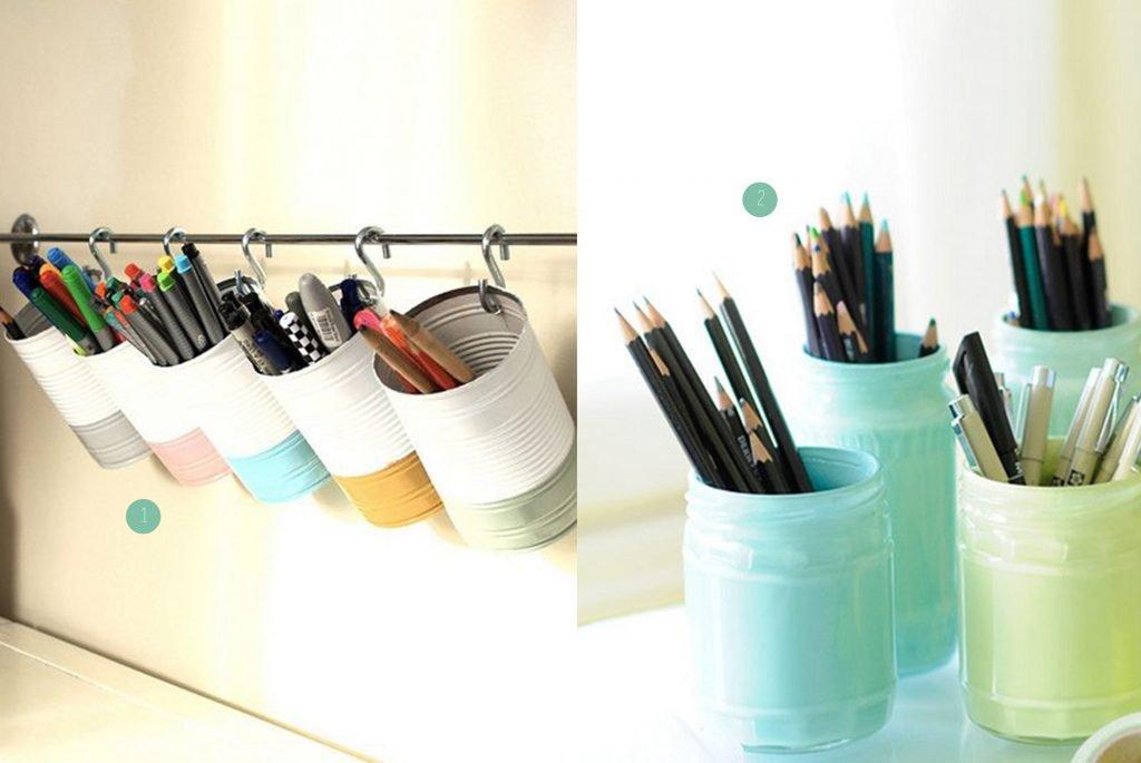 nr. 1: Tin can pen and pencil storage door wrongdecade op Flickr | nr. 2: Gevonden op socialcafemag