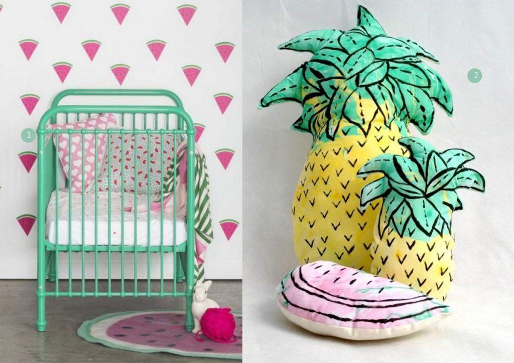 nr. 1: Gevonden op scontent-b-sea.xx.fbcdn | nr. 2: Hand Marbled Pineapple Pillow Cushion Plushie etsy