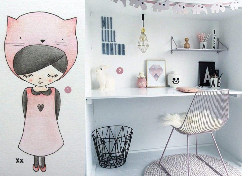 nr. 1: handmade illustratie van meisje A4: 24 euro | nr. 2: Gevonden op iconosquare