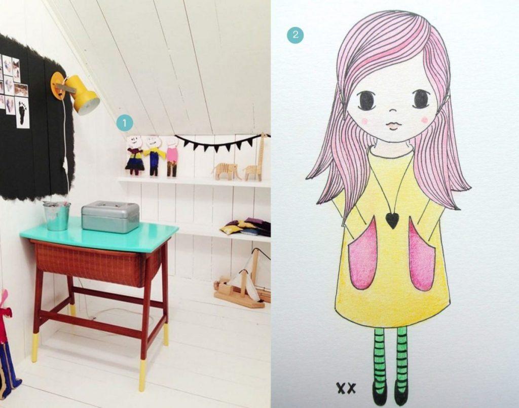 nr. 1: Gevonden op mommo-design.blogspot | nr. 2: handmade illustratie, interesse? Verschillende maten mogelijk. A4: 24 euro: haskesommers@gmail.com