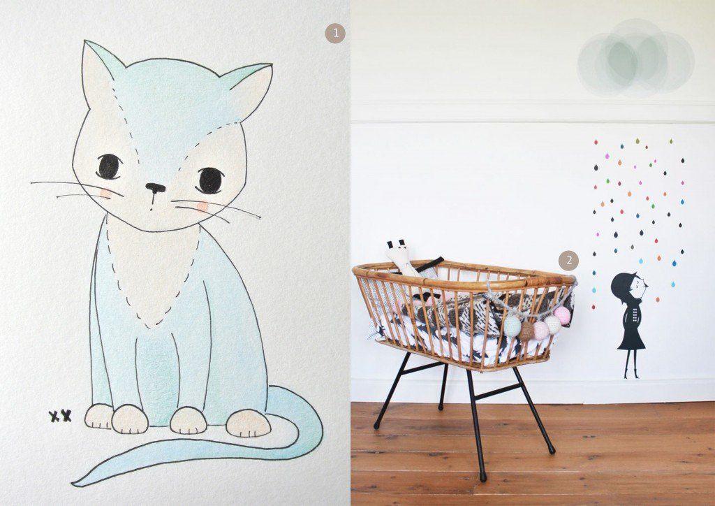 nr. 1: handmade katje door mij: interesse? meerdere formaten mogelijk | A4: 24 euro | haskesommers@gmail.com | nr. 2: Little Spaces - Amélie and Esmée's Rooms | Little Gatherer