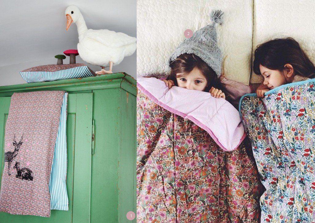 nr. 1: Bed linen for kids | la cerise sur le gâteau- gevonden op alexandalexa | nr. 2: Fabrik Sleeping Bags - By Kirsten Rickert
