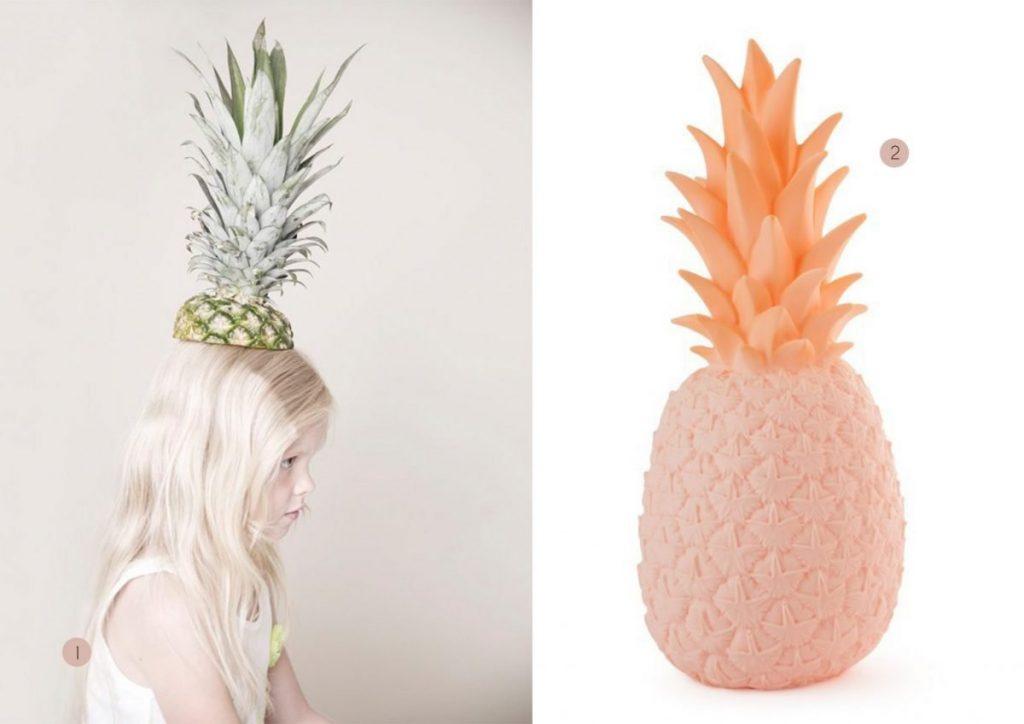nr. 1: Gevonden op babiekinsmag | nr. 2: pina colada ananas lamp