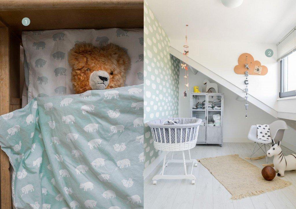nr. 1: BJÖRN BED SET CRIB, SAGE GREEN | nr. 2: Woonboot babykamer scandinavisch Amsterdam Flair ©BintiHome