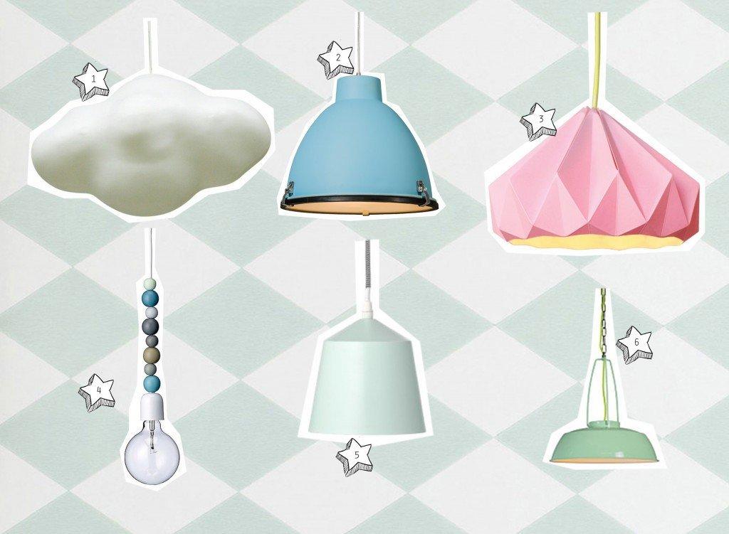 nr. 1: nimbus wolkenlamp | nr. 2: Hanglamp Anteros 38 ijs blauw | nr. 3: dovey-lighting-snowpuppe lamp | nr. 4: Bloomingville lamp | nr. 5: Bloomingville lamp | nr. 6: Hanglamp-Usine-groen