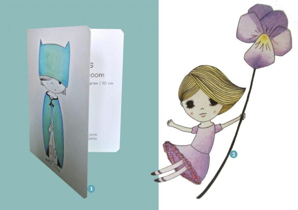 nr. 1 & 2: illustraties van mij verwerk ik tot een persoonlijk geboortekaartje