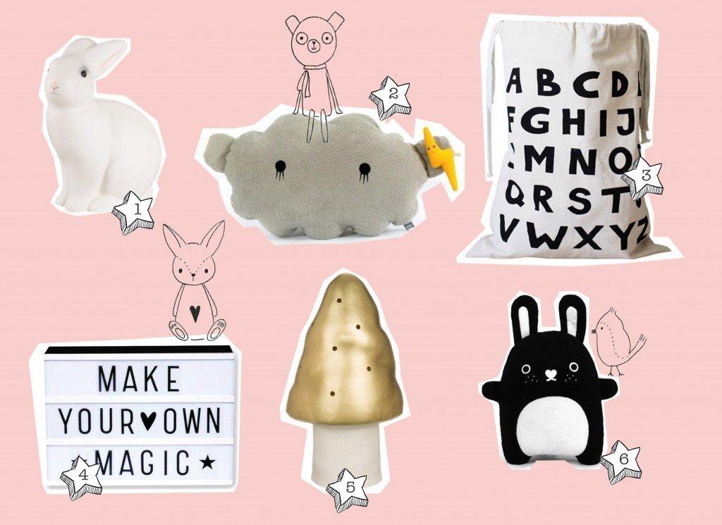 nr. 1: Heico konijntje nachtlamp - nr. 2: noodoll kussens middelgroot - nr. 3: Tellkiddo opbergzak - nr. 4: lttle lovely company lightbox - nr. 5: heico paddestoelen lampje goud - nr. 6: noodoll knuffel