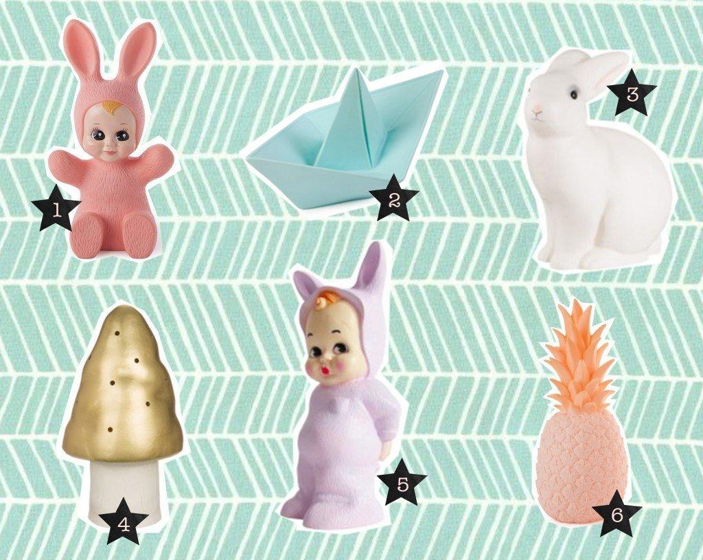 nr. 1: bunny lamp | nr. 2: paperboat lamp | nr. 3: heico konijn lamp | nr. 4; heico gouden paddestoel lamp | nr. 5: rabbit lamp | nr. 6: pina colada lamp