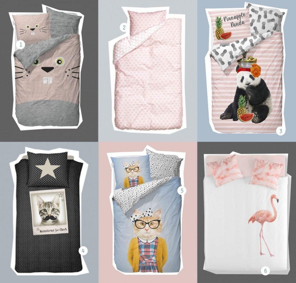 nr. 1: konijn-dekbedovertrek | nr. 2: ruit-dekbedovertrek | nr. 3: panda-dekbedovertrek | nr. 4: poes-dekbedovertrek | nr. 5: hipsterpoes-dekbedovertrek | nr. 6: flamingo-dekbedovertrek