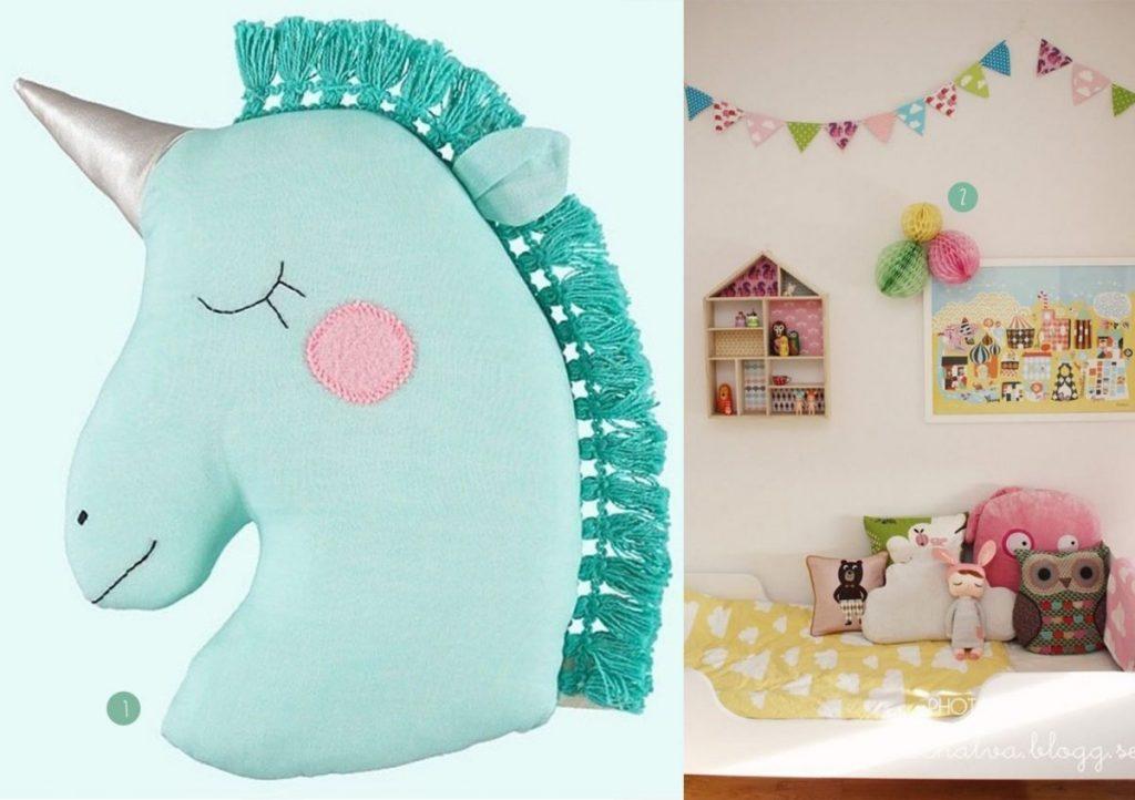 nr. 1: Unicorn pillow van miniboheme | nr. 2: Gevonden op elinochalva.blogg