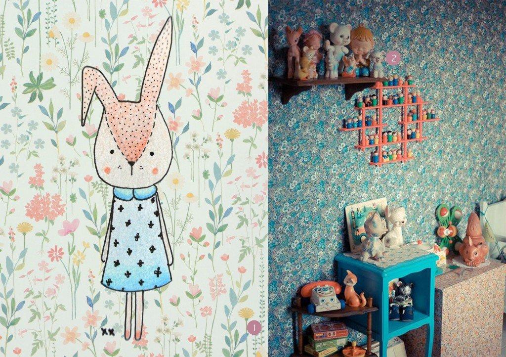 nr. 1: Simply Dutch - Behangrollen van Room Seven en tekening handmade door mij | nr. 2: Gevonden op morganours