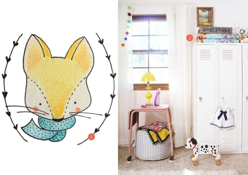 nr. 1: handmade tekening door mij: wil je ook een mooie illustratie voor jouw kinderkamer? Klik hier voor meer info en voorbeelden | nr. 2: Gevonden op bloglovin