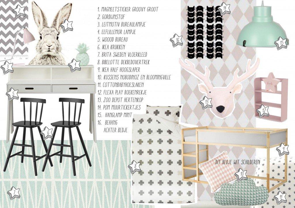 Advies voor de meisjeskamer van Joosje, pastels met pittig zwart en grijs.