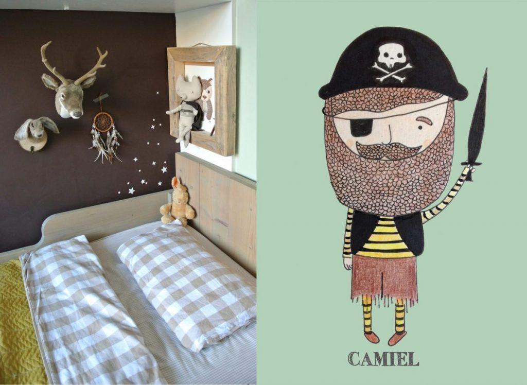 Kamer van Camiel met een poster die op zijn kamer hangt.