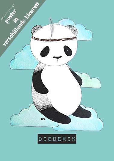 poster kinderkamer panda babykamer, zwart wit blauw