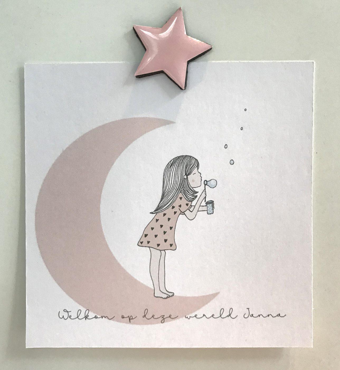 geboortekaartje dochter met een maan. Meisje bellenblazend. getekend kaartje Illustratie