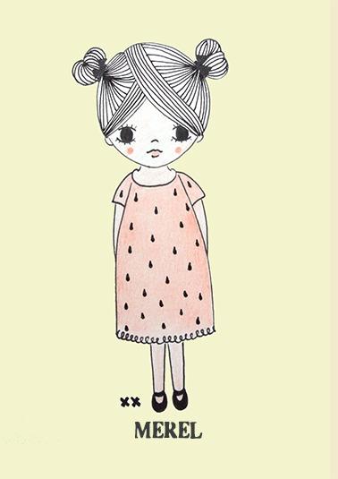 Unieke meisje met knop poster met naam voor op de kinderkamer