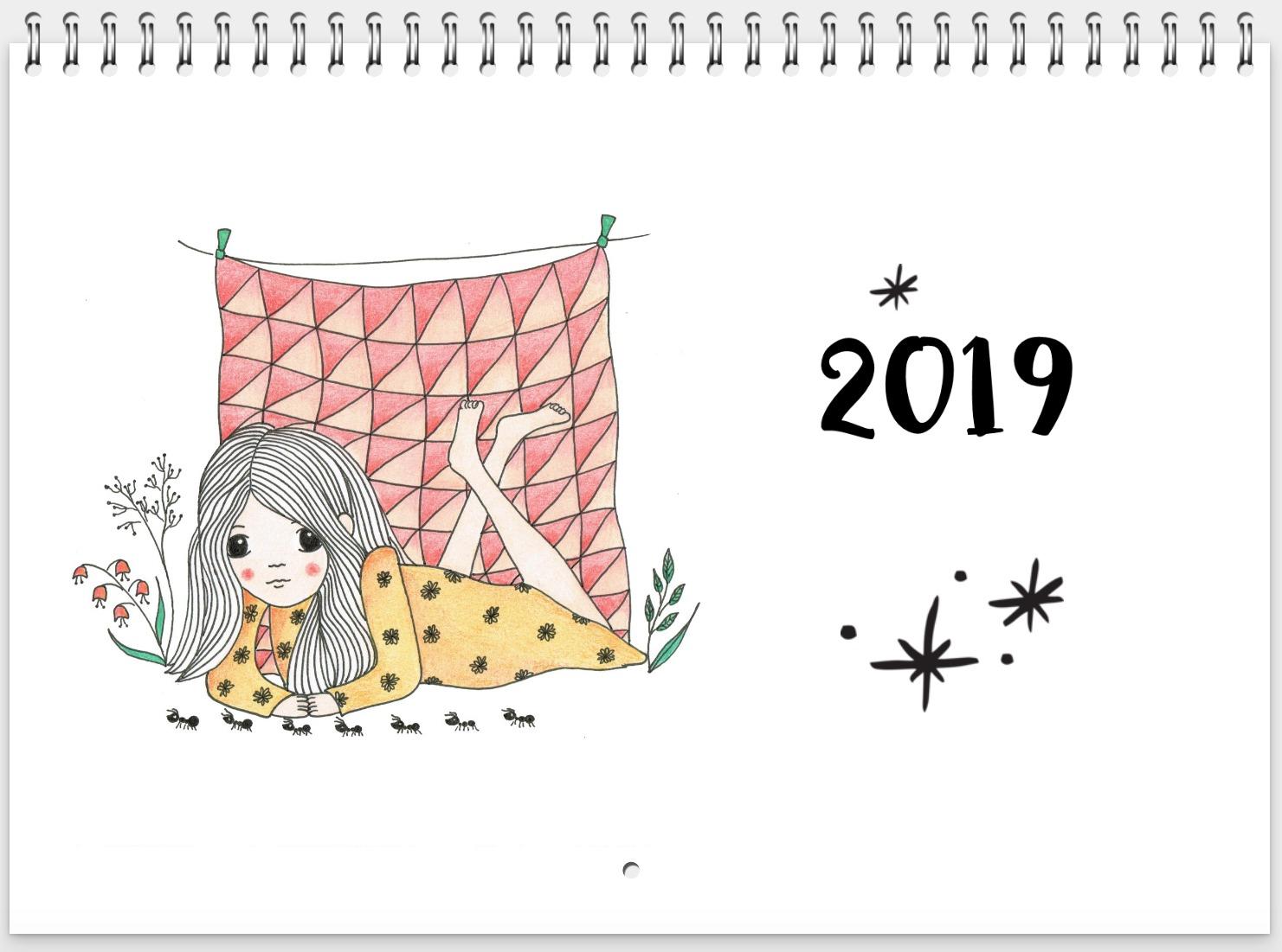 jaarkalender - kalender 2019 - kinderkamervintage - unieke illustraties