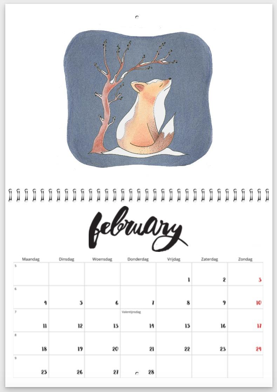 februari 2019 - jaarkalender - winter - vosje