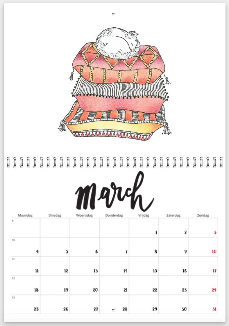 kalender 2019 - maart - poesje op kussens - kinderkamervintage