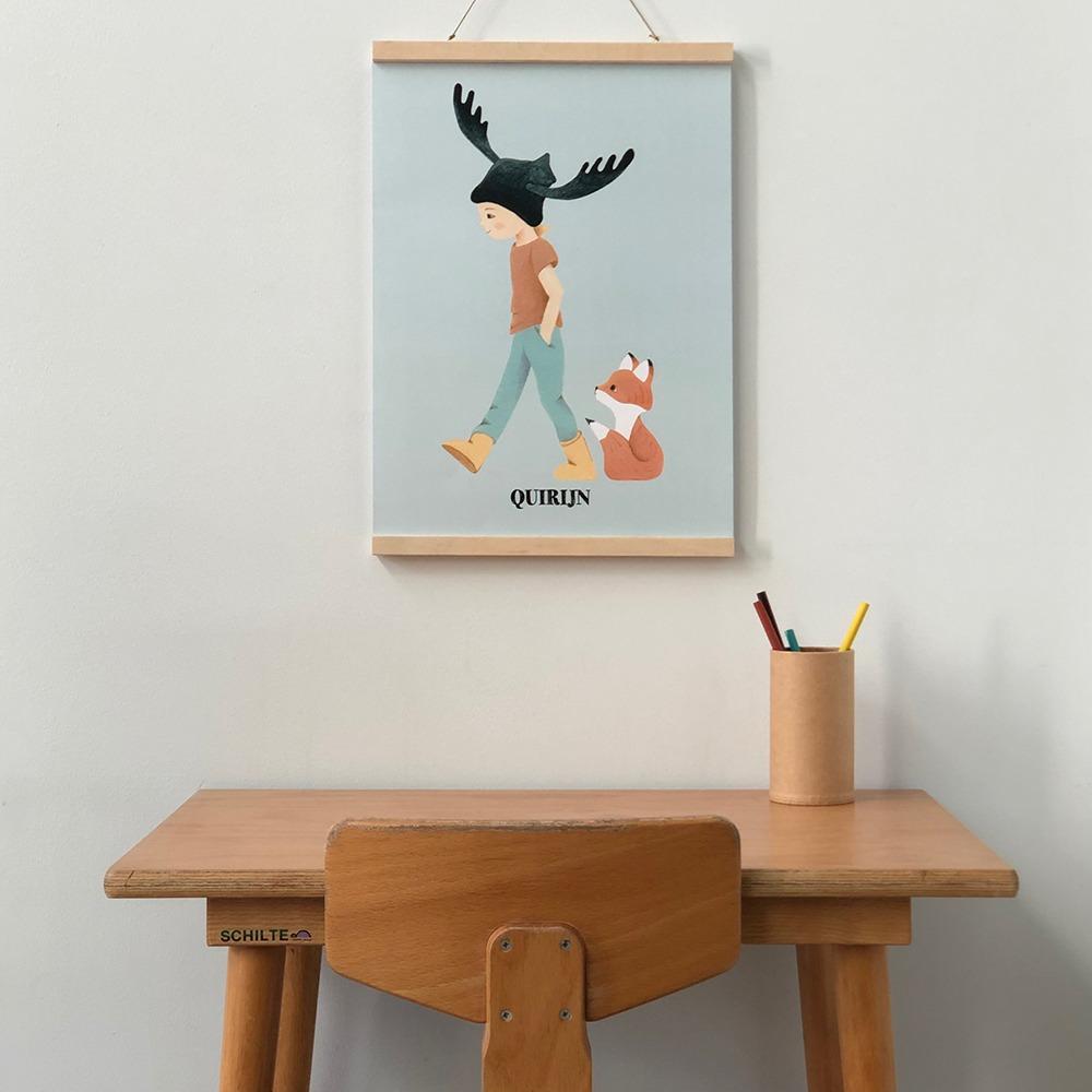 vintage stoeltje met tafel - kinderkamervintage - Schilte - poster - kinderkamer