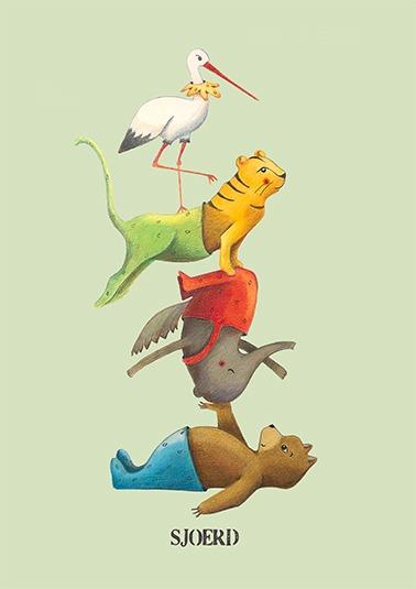 circus dieren poster groen