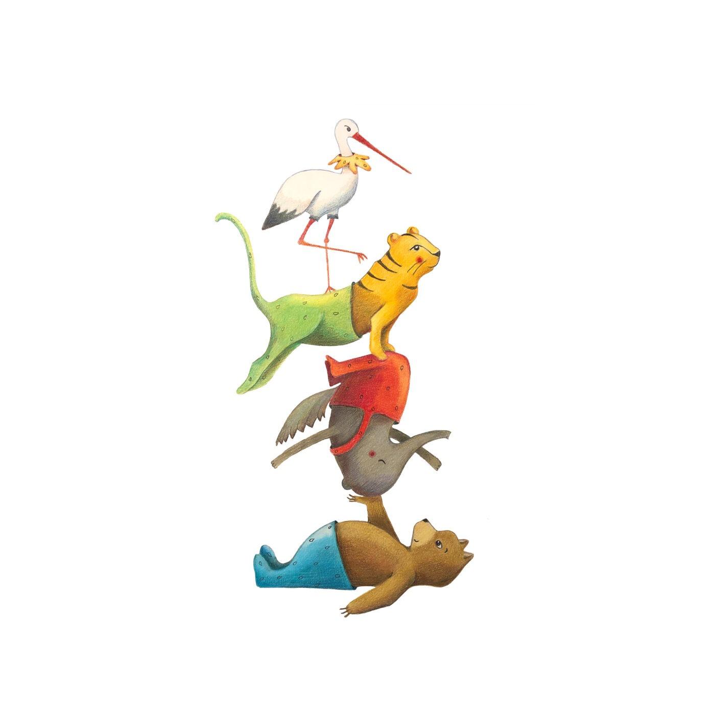 tekening dieren - kinderkamervintage - geboortekaartje