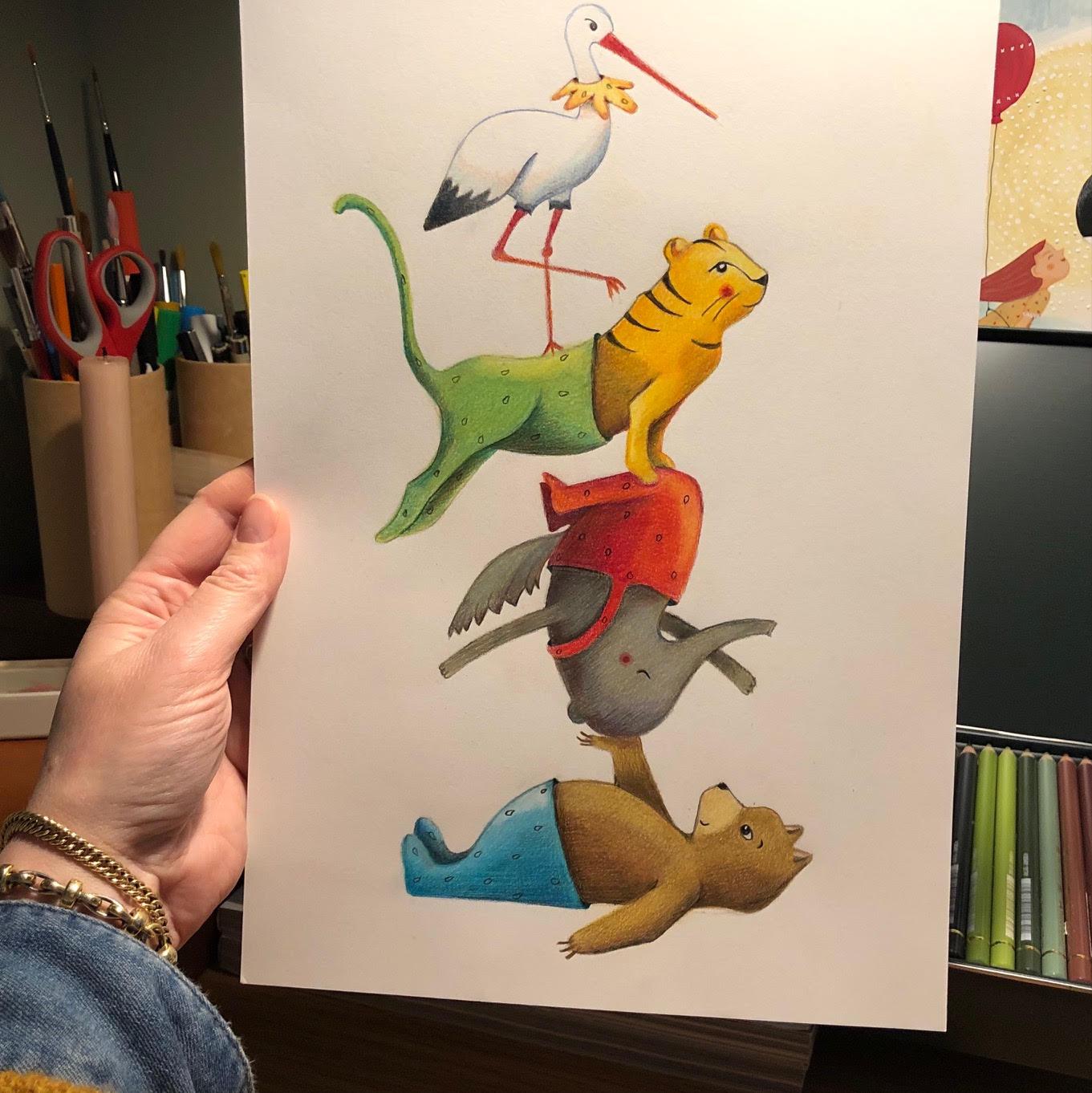 potlood tekening circus dieren - kinderkamervintage