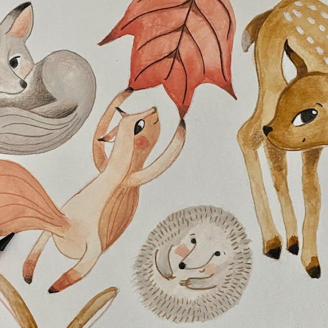 detail gouache tekening - kinderkamervintage