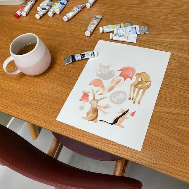 herfst geboortekaartje meisje - gouache - handgemaakt - kinderkamervintage